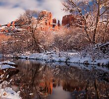 Sedona, Az - Snowy Cathedral Rock by Candy Gemmill