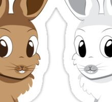 White and brown rabbits Sticker
