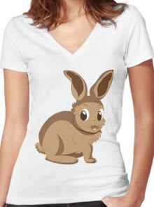 Brown rabbit Women's Fitted V-Neck T-Shirt