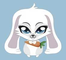 Cute small white lovely bunny holding carrot One Piece - Short Sleeve