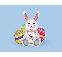 Cute small white lovely bunny with colorful Easter eggs Photographic Print
