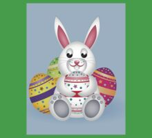 Cute small white lovely bunny with colorful Easter eggs One Piece - Short Sleeve