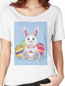 Cute small white lovely bunny with colorful Easter eggs Women's Relaxed Fit T-Shirt