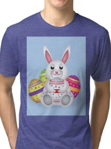 Cute small white lovely bunny with colorful Easter eggs Tri-blend T-Shirt