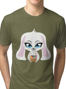 White bunny with Easter eggs Tri-blend T-Shirt