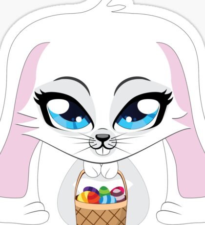 White bunny with Easter eggs Sticker