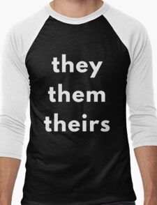 They, Them, Theirs Personal Pronouns Men's Baseball ¾ T-Shirt