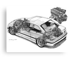 BMW E36 M3 Cutaway - Text Removed Canvas Print