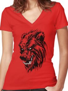 Black Werebear Women's Fitted V-Neck T-Shirt