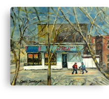 HOCKEY PRACTICE IN ST.HENRI COLD DAY IN MONTREAL NEAR THE PIZZERIA Metal Print