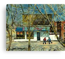 HOCKEY PRACTICE IN ST.HENRI COLD DAY IN MONTREAL NEAR THE PIZZERIA Canvas Print