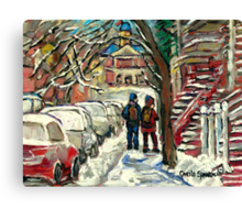 WALKING BY SNOWY RED STAIRCASE MONTREAL MCGILL UNIVERSITY Canvas Print