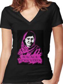 Malala Revolution Women's Fitted V-Neck T-Shirt