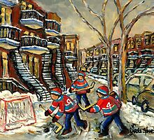 VERDUN BOYS PLAYING STREET HOCKEY MONTREAL WINTER SCENE PAINTINGS by Carole  Spandau