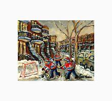 VERDUN BOYS PLAYING STREET HOCKEY MONTREAL WINTER SCENE PAINTINGS Unisex T-Shirt