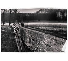 Frosty farm fence in Indiana Poster