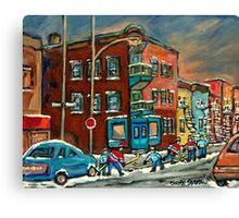 WILENSKY'S DINER AND HOCKEY MONTREAL WINTER SCENE PAINTINGS Canvas Print