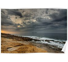 Stormy dawn on the sea Poster