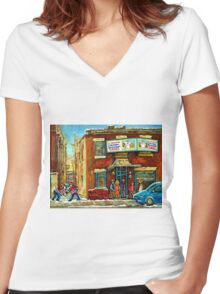 HOCKEY GAME NEAR THE FAIRMOUNT BAGEL MONTREAL  Women's Fitted V-Neck T-Shirt