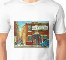HOCKEY GAME NEAR THE FAIRMOUNT BAGEL MONTREAL  Unisex T-Shirt