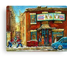HOCKEY GAME NEAR THE FAIRMOUNT BAGEL MONTREAL  Canvas Print