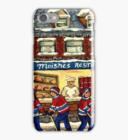 MOISHE'S RESTAURANT MONTREAL AND HOCKEY GAME PAINTINGS iPhone Case/Skin