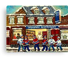 MOISHE'S RESTAURANT MONTREAL AND HOCKEY GAME PAINTINGS Canvas Print