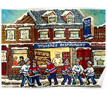 MOISHE'S RESTAURANT MONTREAL AND HOCKEY GAME PAINTINGS Poster