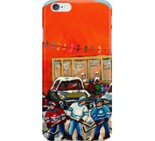HOCKEY GAME AT THE ORANGE JULEP MONTREAL STREET SCENE PAINTING iPhone Case/Skin