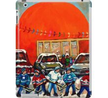 HOCKEY GAME AT THE ORANGE JULEP MONTREAL STREET SCENE PAINTING iPad Case/Skin