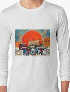 HOCKEY GAME AT THE ORANGE JULEP MONTREAL STREET SCENE PAINTING Long Sleeve T-Shirt