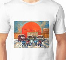 HOCKEY GAME AT THE ORANGE JULEP MONTREAL STREET SCENE PAINTING Unisex T-Shirt