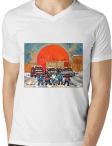 HOCKEY GAME AT THE ORANGE JULEP MONTREAL STREET SCENE PAINTING Mens V-Neck T-Shirt