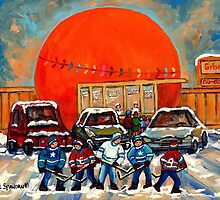 HOCKEY GAME AT THE ORANGE JULEP MONTREAL STREET SCENE PAINTING by Carole  Spandau