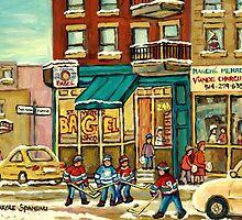 HOCKEY ART ST.VIATEUR BAGEL MONTREAL ORIGINAL PAINTINGS AND PRINTS by Carole  Spandau