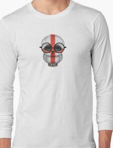 Nerdy English Baby Owl on a Branch Long Sleeve T-Shirt