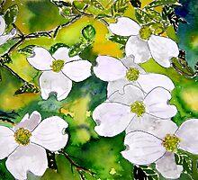 Dogwood tree flowers still life art by derekmccrea