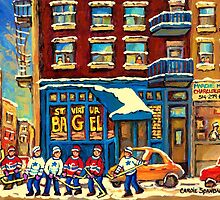 ST.VIATEUR BAGEL MONTREAL WITH HOCKEY GAME MONTREAL CITY WINTER SCENE PAINTING by Carole  Spandau