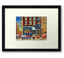 ST.VIATEUR BAGEL MONTREAL WITH HOCKEY GAME MONTREAL CITY WINTER SCENE PAINTING Framed Print