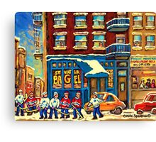 ST.VIATEUR BAGEL MONTREAL WITH HOCKEY GAME MONTREAL CITY WINTER SCENE PAINTING Canvas Print