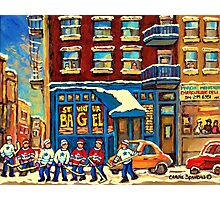 ST.VIATEUR BAGEL MONTREAL WITH HOCKEY GAME MONTREAL CITY WINTER SCENE PAINTING Photographic Print