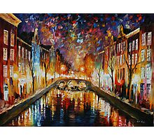 NIGHT AMSTERDAM limited edition giclee of L.AFREMOV painting Photographic Print