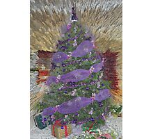 Lavender Garland Christmas Tree Photographic Print