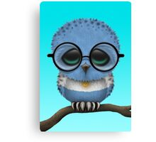 Nerdy Argentinian Baby Owl on a Branch Canvas Print