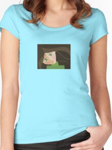 Green eyes portrait t-shirt Women's Fitted Scoop T-Shirt
