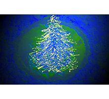 Blue Green Tree Christmas Photographic Print