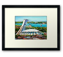 MONTREAL OLYMPIC STADIUM MONTREAL SKYLINE PAINTINGS Framed Print