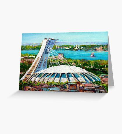 MONTREAL OLYMPIC STADIUM MONTREAL SKYLINE PAINTINGS Greeting Card