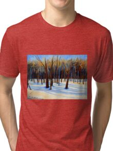 WINTER SCENE LANDSCAPE CANADIAN ART PAINTINGS Tri-blend T-Shirt