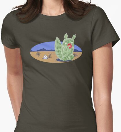 Squirrel Cactus  Womens Fitted T-Shirt